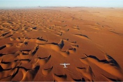 Flying over Namibia dunes